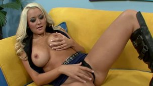 Stacked blond gets her big tits and shaved cunt fucked