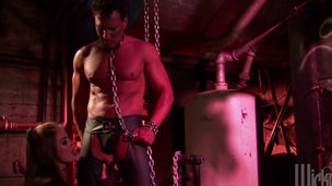 Fetish beauty blowjob and anal sex in a chain swing